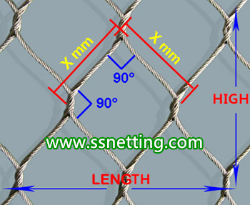 Factory of 3/64inch x 1.5inch x 1.5inch stainless steel cable netting, wire rope netting, cable mesh netting for zoo in China