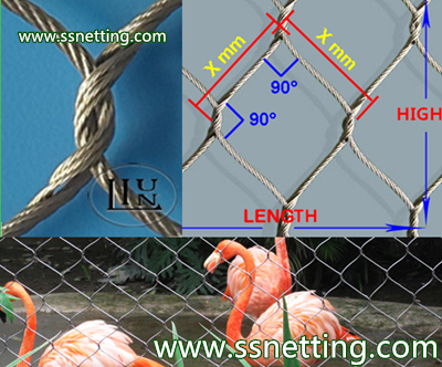 Stainless steel cable netting, cable mesh netting, wire rope cable netting