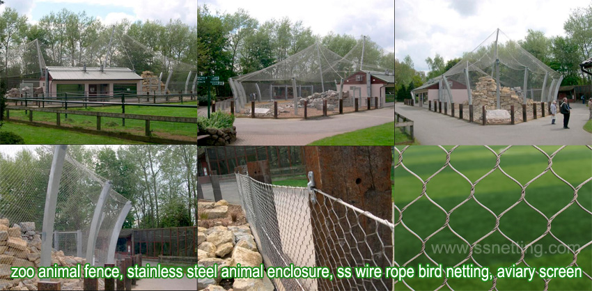 Zoo animal fence, stainless steel animal enclosure, ss wire rope bird netting, aviary screen