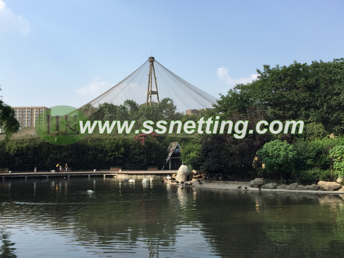 Aviary park netting is stainless steel wire rope mesh in chengdu zoo in china