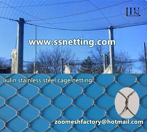 Stainless steel wire rope cage netting, stainless steel wire rope woven mesh, stainless steel aviary netting