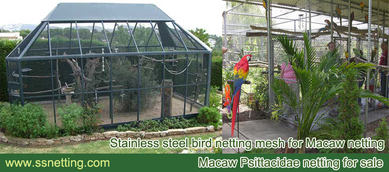 Stainless steel parrot covered netting for parrot venues screen and parrot cages top