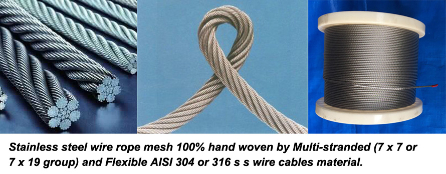 The materials of our product stainless steel wire rope woven mesh is AISI 304/316 stainless steel.jpg