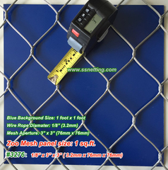 "Stainless Wire Mesh Fencing 1/8"", 3"" x 3"", ( 3.2mm, 76mm x 76mm)"