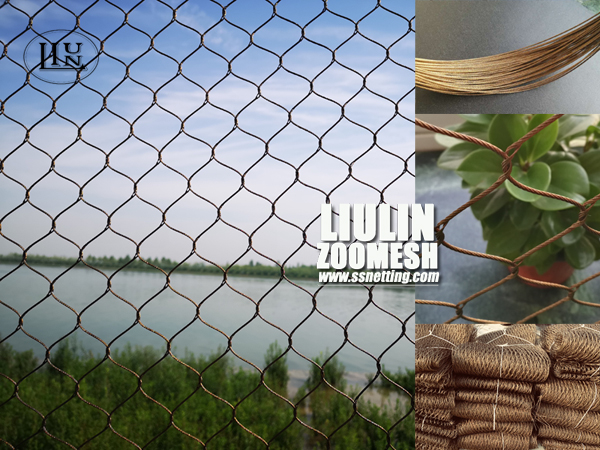 Bronze color stainless steel woven mesh for animal protection fence and decorative netting