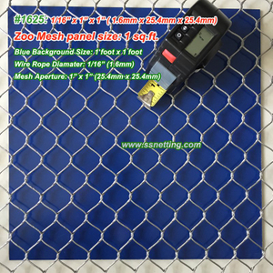 "Stainless Steel Mesh 1/16"", 1"" X 1"", (1.6mm, 25.4mm X 25.4mm)"