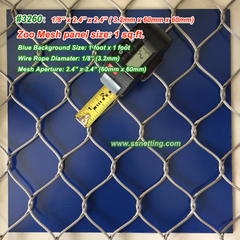 "Stainless Wire Mesh Fencing 1/8"", 2.4"" x 2.4"", ( 3.2mm, 60mm x 60mm)"