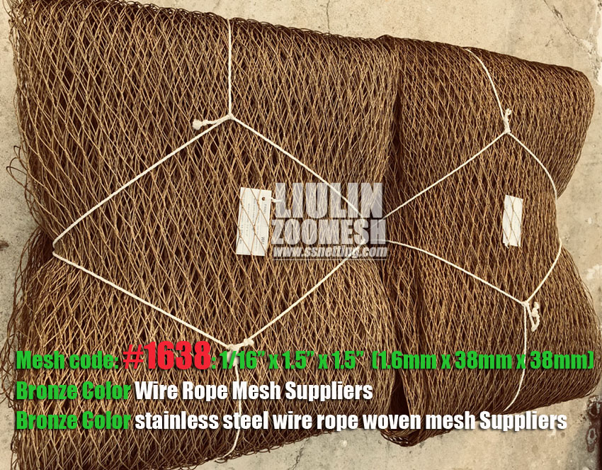 Flexible, Strong and Durable Bronze Color Stainless steel cable mesh