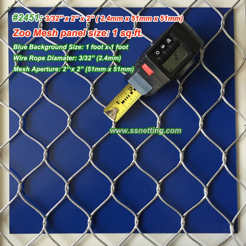 "Stainless steel metal mesh 3/32"", 2"" x 2"", ( 2.4mm, 51mm x 51mm)"