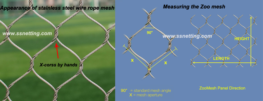 Details of stainless steel wire rope mesh in China zoo mesh factory