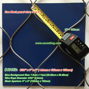 "Stainless Cable Mesh 5/32"", 6"" X 6"", ( 4.0mm, 152mm X 152mm)"