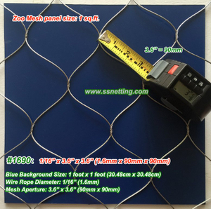 "Flexible Metal Wire Mesh 1/16"", 3.6"" X 3.6"", ( 1.6mm, 90mm X 90mm)"