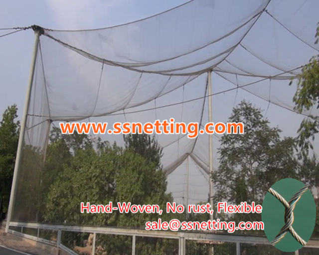 bird netting fence for crane exhibit project, crane cage netting