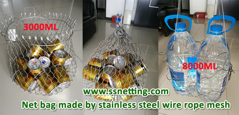 Net bag made by stainless steel wire rope mesh