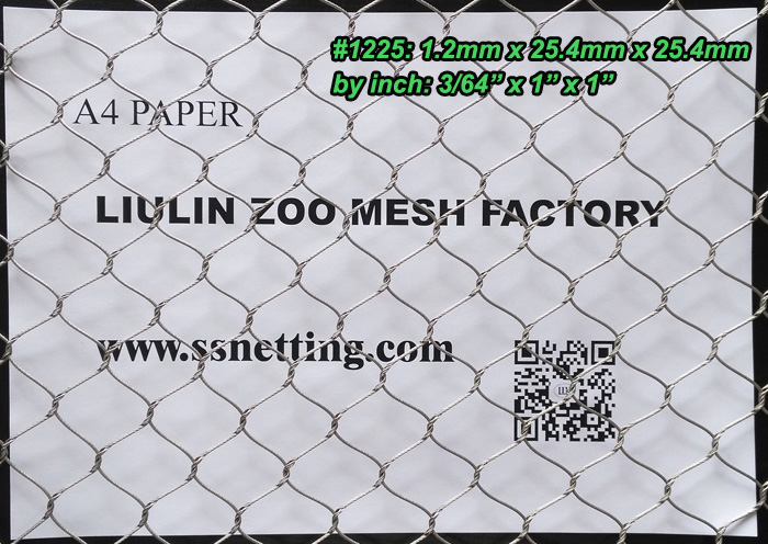 "Stainless Steel Cable Mesh 3/64"", 1"" X 1"", (1.2mm, 25.4mm X 25.4mm)"