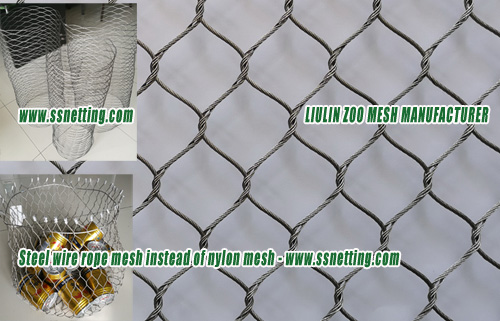 Steel wire rope mesh instead of nylon mesh