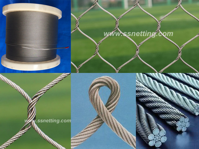 "Stainless Steel Wire Rope Mesh 3/64"", 2"" X 2"", ( 1.2mm, 51mm X 51mm)"