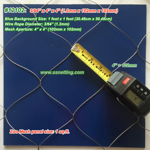 "Stainless Steel Wire Rope Mesh 3/64"", 4"" X 4"", ( 1.2mm, 102mm X 102mm)"