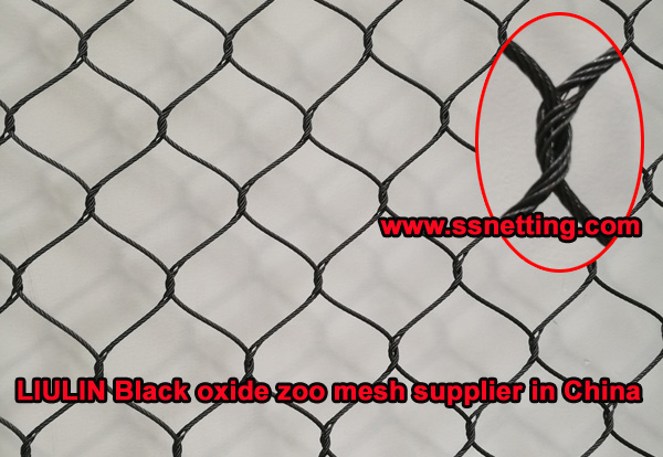 Black stainless steel aviary mesh - made of stainless steel wire rope