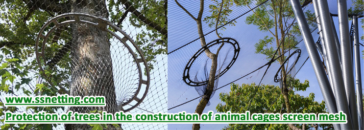 Protection of trees in the construction of animal cages screen mesh