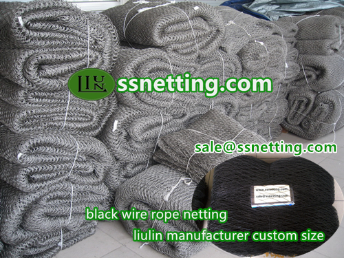 Sale hand-woven black wire rope netting in china---liulin black oxide wire cable mesh supplier