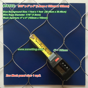 "Flexible Metal Wire Mesh 1/16"", 4"" X 4"", ( 1.6mm, 102mm X 102mm)"