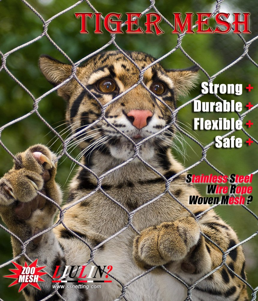 Stainless steel wire rope mesh for Ferocious animal fence